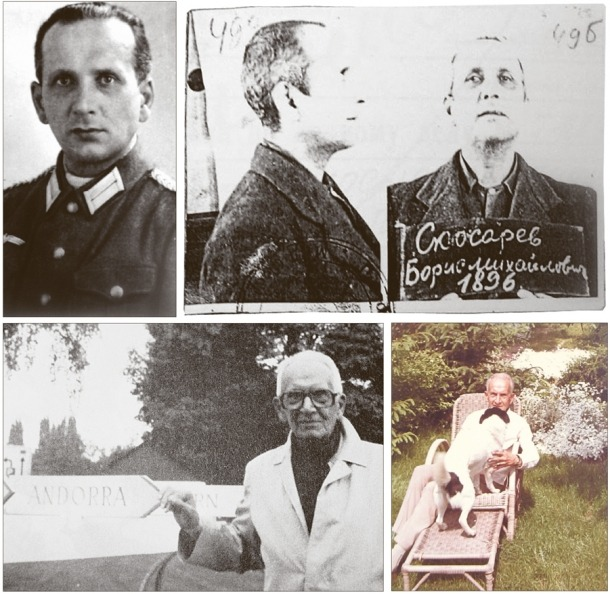 Amb l'uniforme de la Wehrmacht, a l'expedient del KGB, en algun lloc prop d'Andorra i al jardí de casa, a Boppard, als anys 60.
