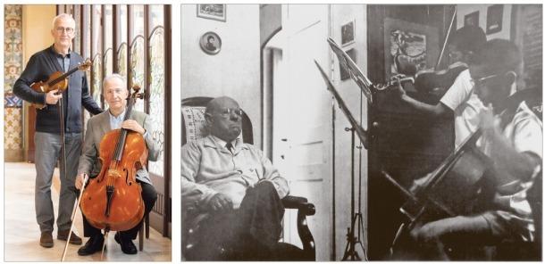 Seixanta anys separen aquestes dues fotos: la de la dreta va ser feta le 1960 a Prada de Conflent, amb Pau Casals pesant amb la mirada el talents dels germans Claret.