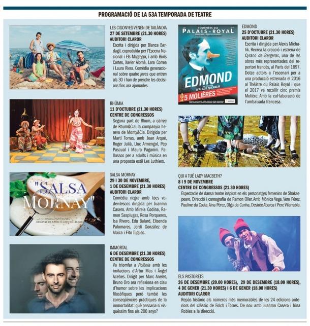 Programa de la 53a Temporada conjunta de Sant Julià i la capital, que arrenca el 27 de setembre al Claror amb 'Les cigonyes venen de Tailàndia'.