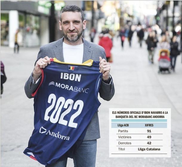 Ibon Navarro continuarà al BC MoraBanc fins al 2022 després de renovar ahir amb l'entitat presidida per Gorka Aixàs.