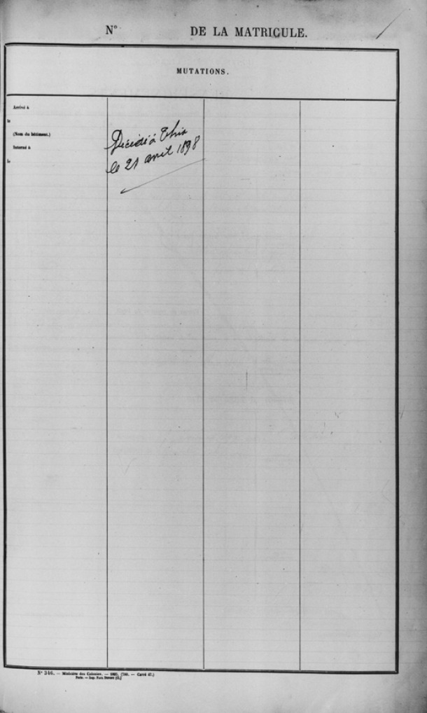 """Lacònica anotació a l'última pàgina de l'expedient: """"Decédé à Thio le 21 avril 1898""""."""