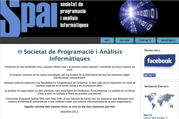 Captura de pantalla de la pàgina web de l'empresa Spai.