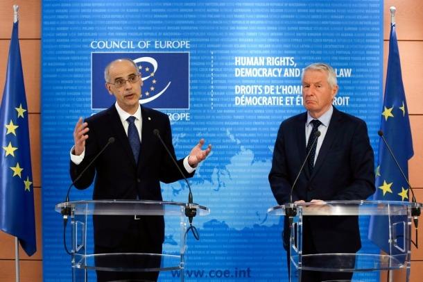 El cap de Govern, Antoni Martí, i el secretari general del Consell d'Europa, Thorbjorn Jagland.