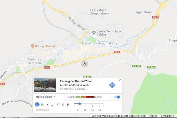 Imatge de Google Traffic d'Andorra la Vella i Escaldes-Engordany.