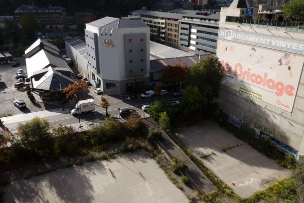 Terreny d'Andorra la Vella on s'ha de construir el casino de la proposta guanyadora del concurs, Jocs SA.