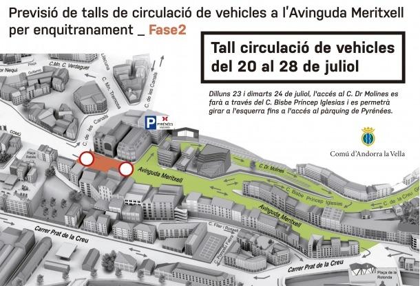 El mapa del centre d'Andorra la Vella.
