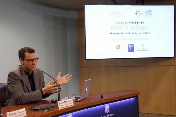 Josep Martínez, coordinador de projectes de l'ONCA, el dia de la presentació de la temporada de l'ONCA Bàsic.