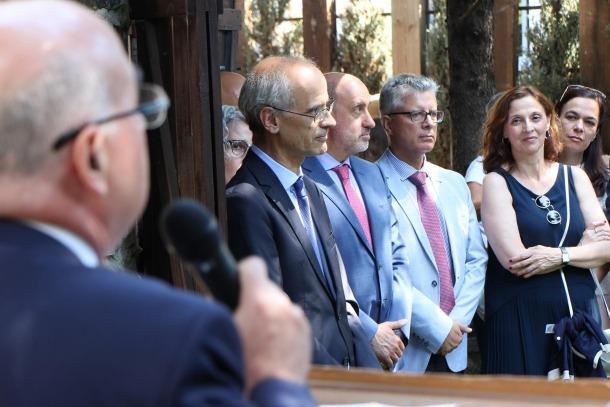 El cap de Govern, Toni Martí, a l'acte per acomiadar a fins ara ambaixador espanyol, Manuel Montobbio.