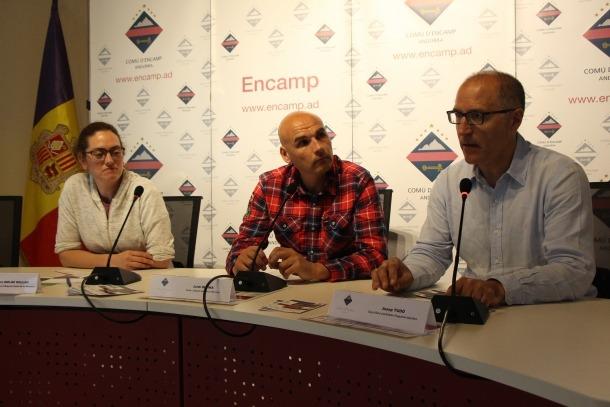 Sandra Molné, Jordi Olcina i Josep Tudó en la roda de premsa d'aquest matí..