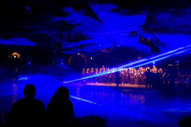 Actuació del Cor Rock d'Encamp al Prat Gran en el marc del festival 'Encamp en clau de llum' de l'any passat.