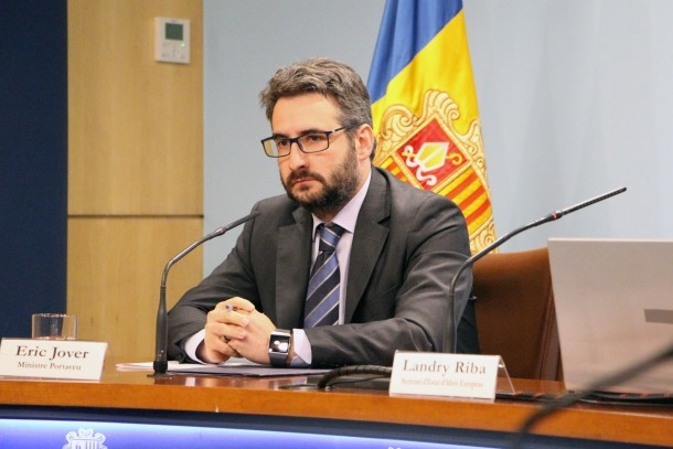 El ministre portaveu, Èric Jover, durant la roda de premsa posterior al consell de ministres celebrada aquest dimecres.