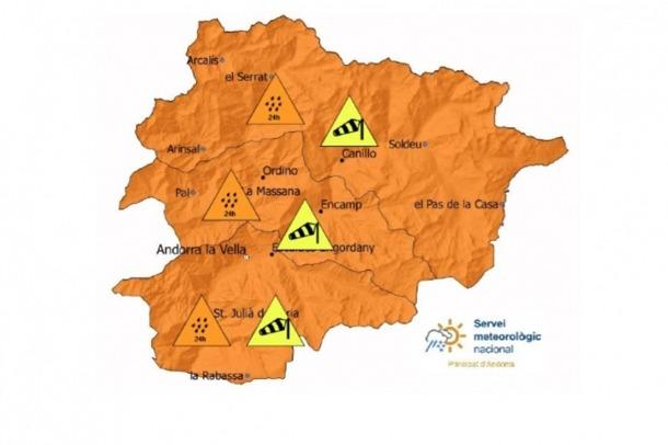 El mapa de les previsions meteorològiques.