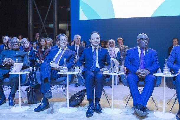 El cap de Govern, Xavier Espot, durant la seva participació al Fòrum de París per la pau.