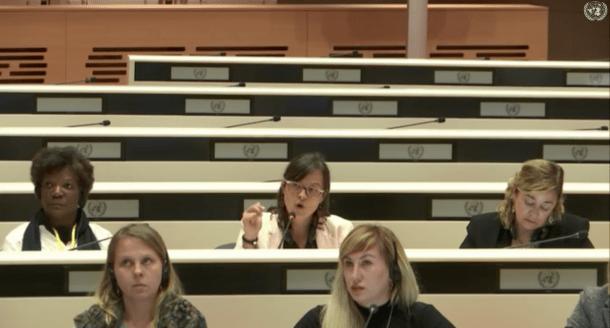 La presidenta d'Stop Violències, Vanessa M. Cortés, i l'advocada de l'associació, Elisabet Zoppeti, durant la intervenció en la 74a sessió sobre l'eliminació de les discriminacions envers les dones.