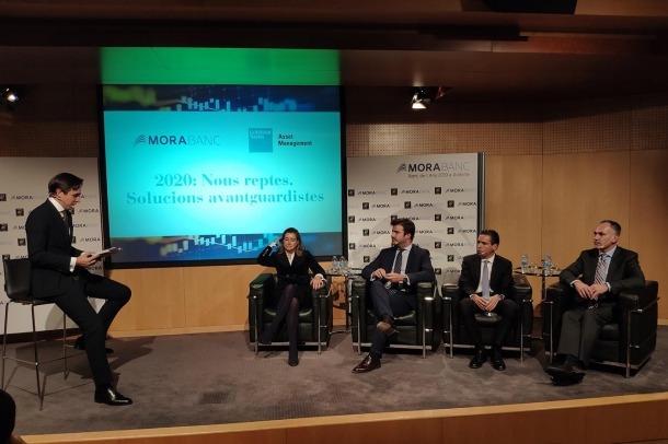 Un moment de la conferència organitzada per MoraBanc i Goldman Sachs.