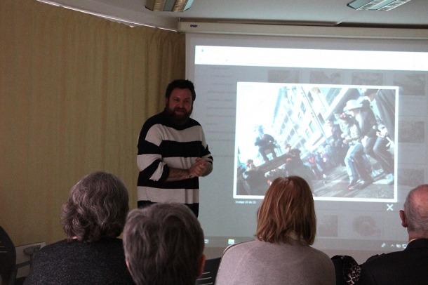 El coordinador de Museus i Tradicions del comú d'Encamp, Robert Lizarte, durant la xerrada que ha ofert a L'espai.