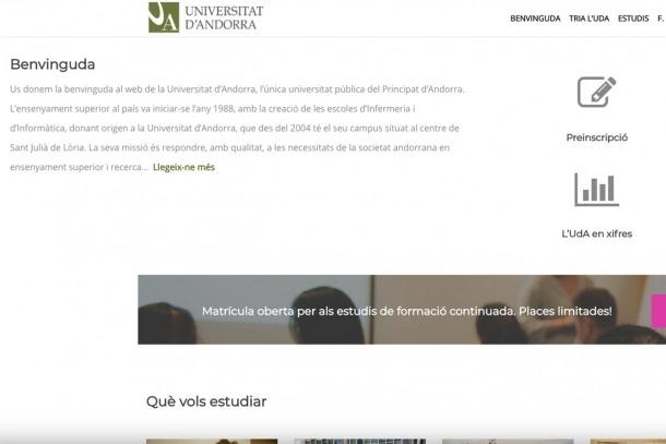 El nou portal de la Universitat d'Andorra.