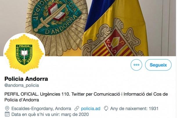 El perfil de Twitter de la policia.