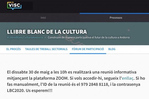 La plana web on s'informa del procés participatiu.