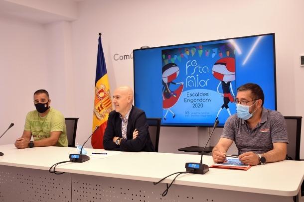 Un instant de la roda de premsa de presentació de la festa major d'Escaldes.