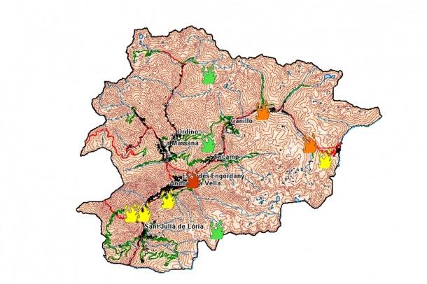 El mapa del risc d'incendi.