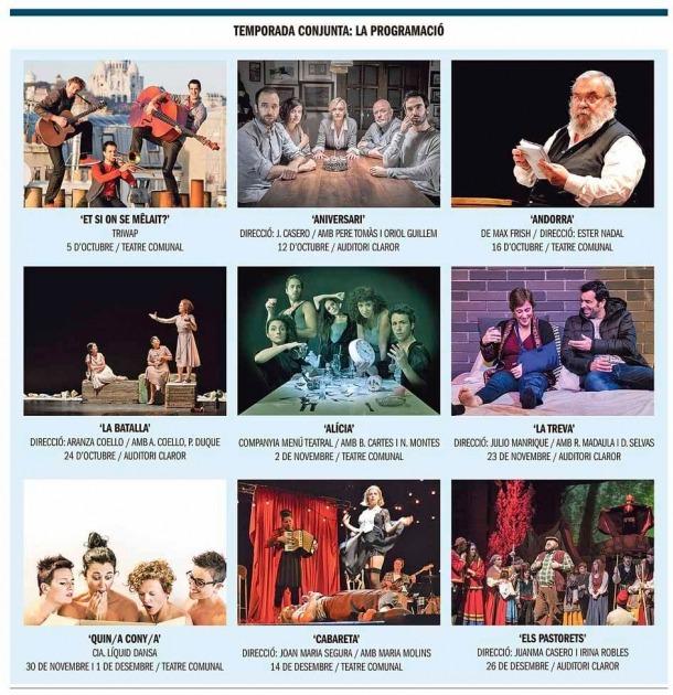 Andorra, Sant Julià, teatre, Temporada, temporada conjunta, Robles, Nadal, Cartes, Frisch, Cabareta, Pastorets, Aniversari, la batalla, alícia, Líquid Dansa