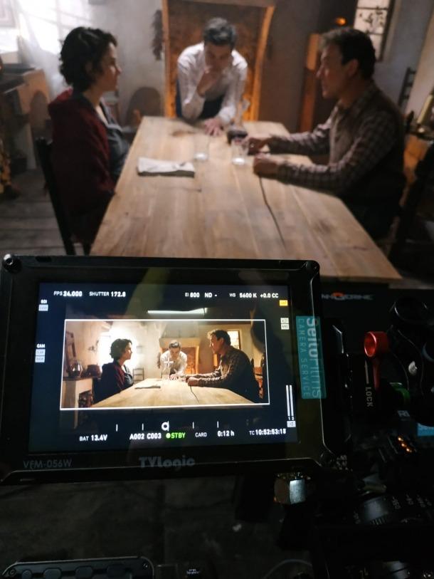 Aida Folch i Roger Casamajor a Casa Rull, el primer dia de rodatge, que va ser dilluns de l'altra setrmana.