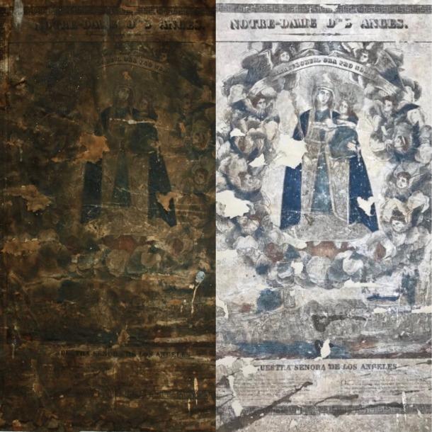 L'abans i el després de l'estampa, a la dreta encara amb les llacunes sense reintegrar.