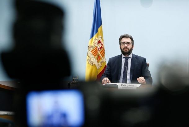 El ministre portaveu, Eric Jover, durant la roda de premsa d'aquest vespre.
