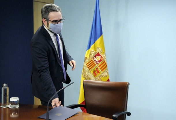 El ministre de Finances i portaveu de l'executiu, Eric Jover, abans de la compareixença d'aqeusta tarda.