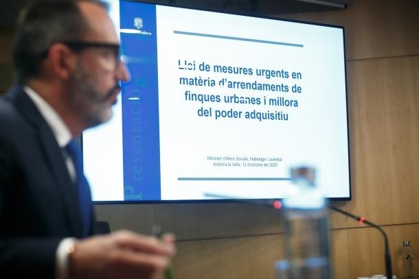 Roda de premsa de presentació del ministre Filloy, aquest matí.