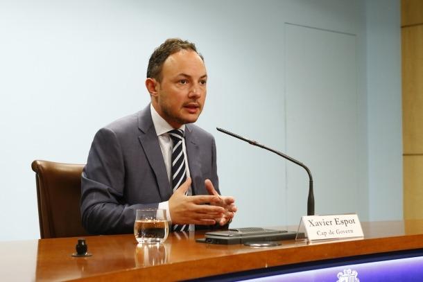El cap de Govern, Xavier Espot, en la compareixença per comunicar el cessament de Chato, ahir.