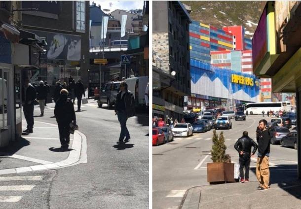 Visitants al Pas de la Casa, aquest matí, entrant i sortint de les botigues.