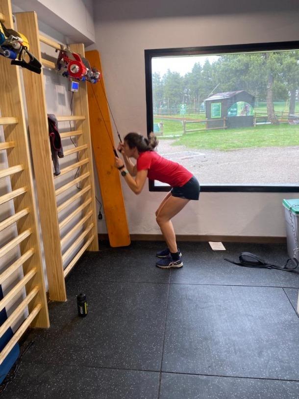 Carola Vila en un entrenament al REA.