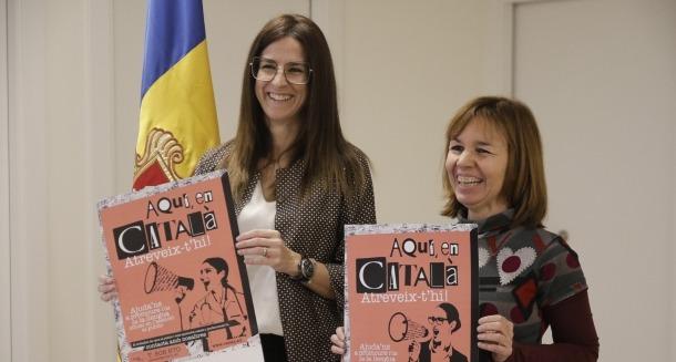 Sívlia Riva, ministra de Cultura i Esports, i Marta Pujol, cap d'àrea del departament de Política Lingüística, ahir.