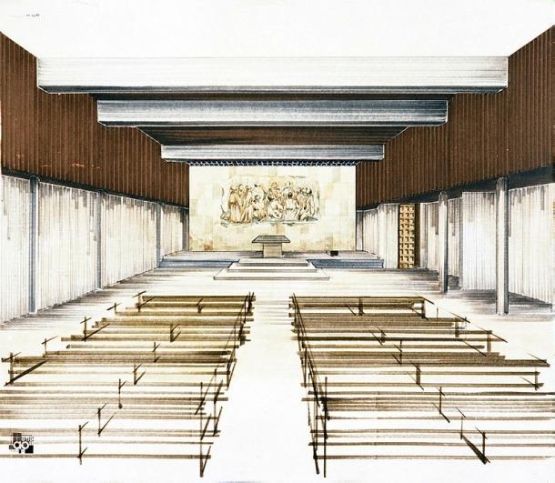 Interior del temple, segons un dibuix conservat al fons Peig, probablement obra de l'arquitecte Aixàs i que preveia un retaule diferent del de Luigi Teruggi que finalment s'hi va instal·lar, el 1982.