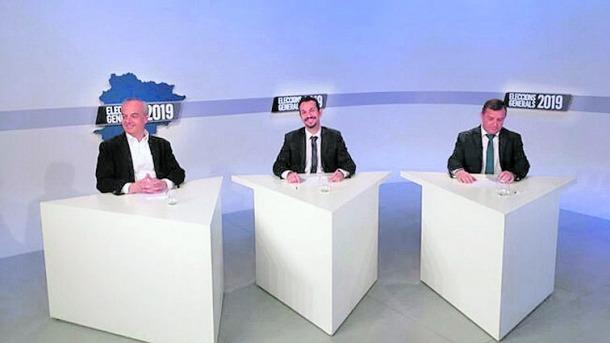 Carles Álvarez, Gerard Alís i Josep Majoral, al plató d'ATV durant el debat que van mantenir ahir a l'hora de l'aperitiu.
