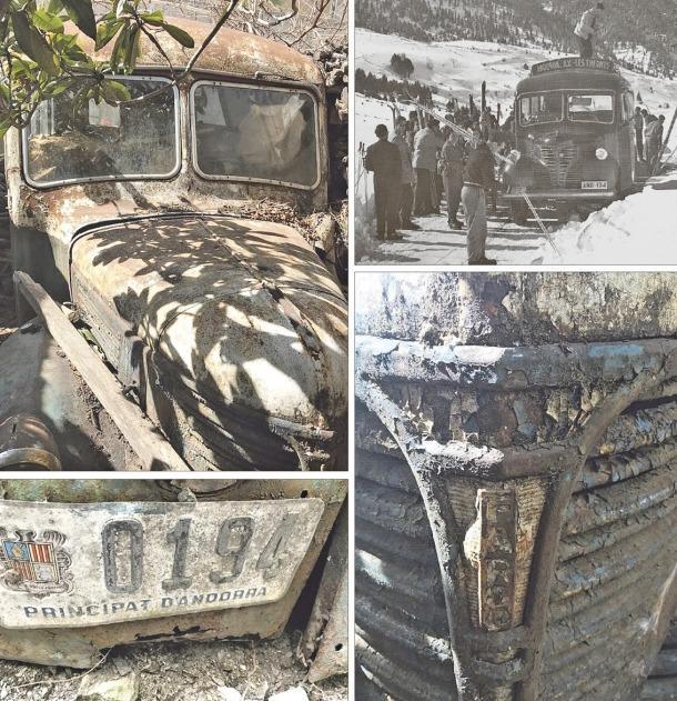 Detalls del capó, la matrícula i el logo del Dodge Fargo de Fontaneda, que era el que apareix a la fotografia en blanc i negre, descarregant esquiadors de la línia d'Acs, als anys 50 o primers 60.