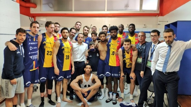 El BC MoraBanc després del partit contra el San Pablo Burgos.