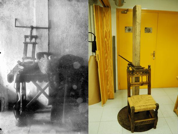 Les dues úniques fotografies del garrot que es conserven a l'Arxiu: la de Builles està datada als anys 10; la de Lengemann, el 1955.