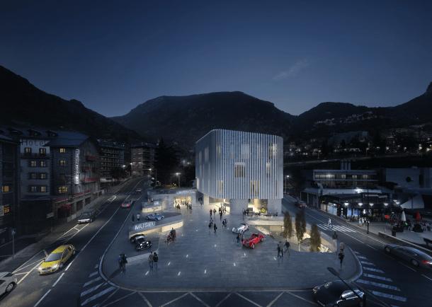 Projecte de Ginjaume i Veciana per al nou Museu de l'automòbil que es construirà a Encamp.