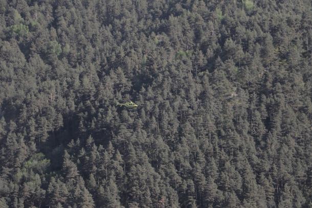 L'helicòpter durant l'operatiu de rescat.