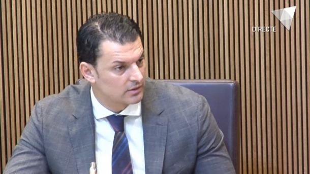 El ministre de Presidència, Economia i Empresa, Jordi Gallardo, aquest matí al Consell General.