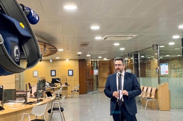 El ministre portaveu, Eric Jover, durant les declaracions que ha fet aquesta tarda per actualitzar la situació sanitària.