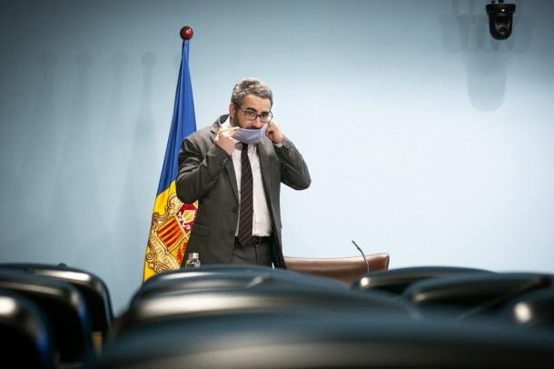El ministre portaveu, Eric Jover, moments abans de la compareixença d'aquesta tarda.