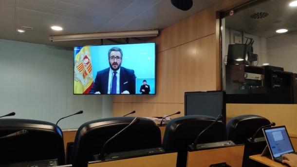 Un moment de la compareixença del ministre portaveu, Eric Jover, d'aquesta tarda.