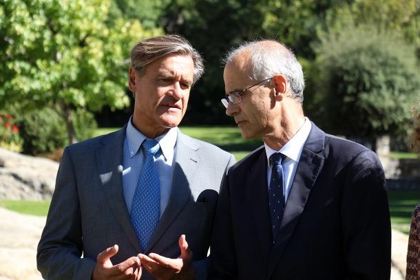 ANA/ El ponent permanent del Parlament Europeu per a l'acord d'associació entre la UE i Andorra, Juan Fernando López Aguilar, i el cap de Govern, Toni Mart
