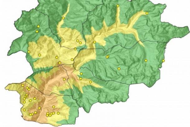 Mapa d'Andorra on s'observa que el perill d'incendi molt alt (color taronja) es troba al sud del país.