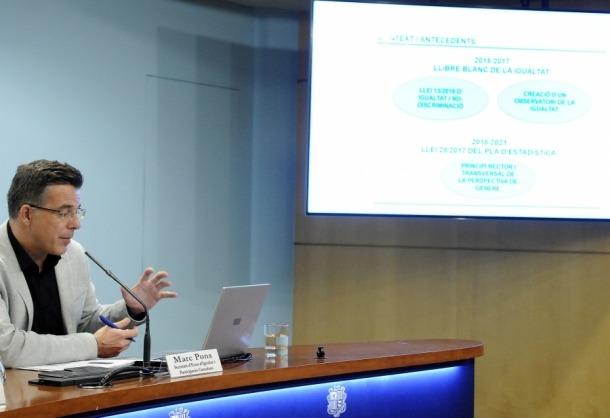 El secretari d'Estat d'Igualtat i Participació Ciutadana, Marc Pons, va presentar ahir el reglament de l'Observatori de la Igualtat.