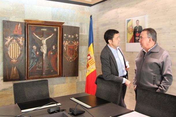 El cònsol major d'Ordino, Josep Àngel Mortés, i el president de Nord Andorrà, Josep Montané Pons, han signat el conveni.